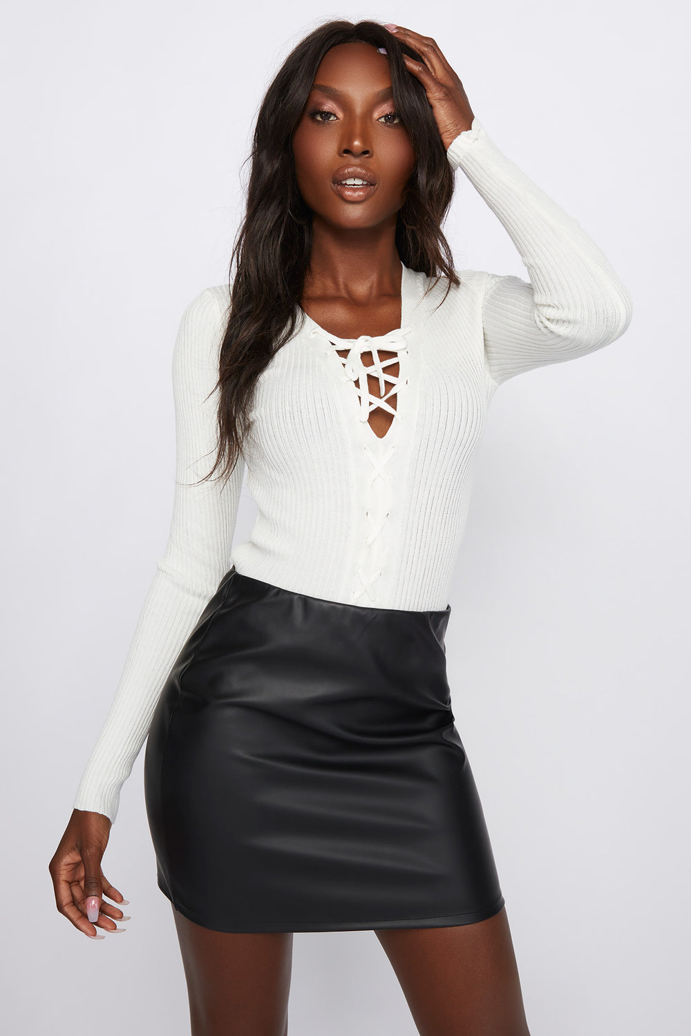 Lace-Up Ribbed Long Sleeve Off White