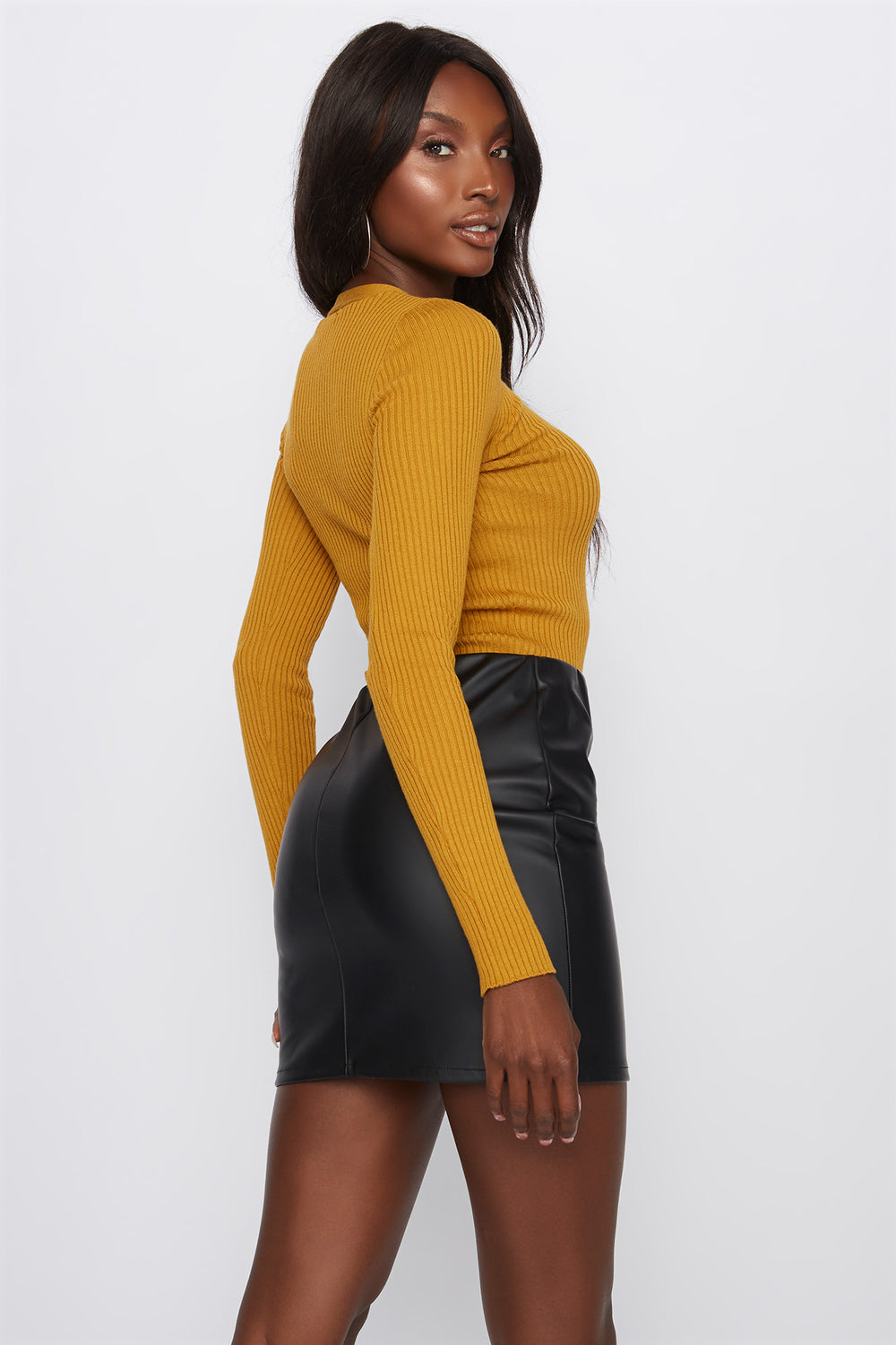 Lace-Up Ribbed Long Sleeve Mustard
