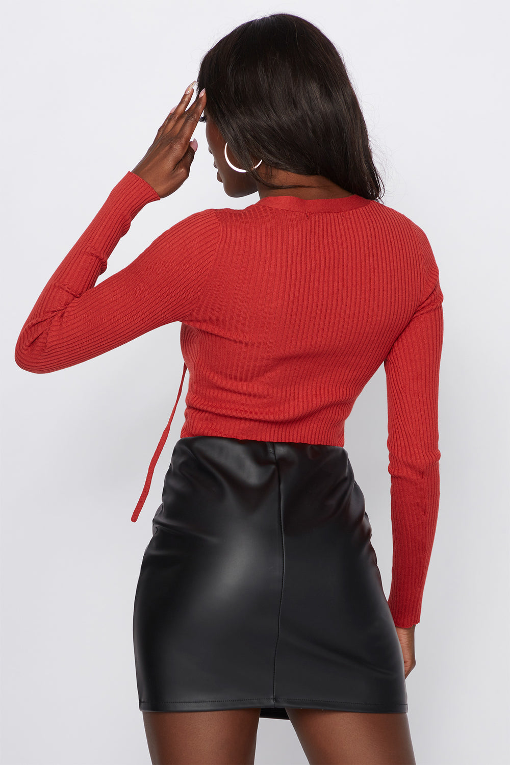 Lace-Up Ribbed Long Sleeve Rust