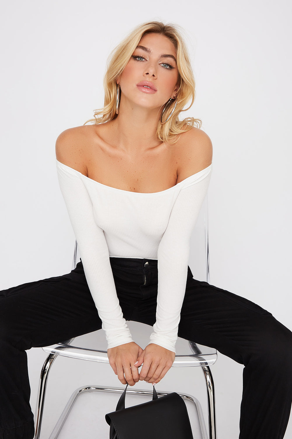 Off the Shoulder Long Sleeve Bodysuit Off White