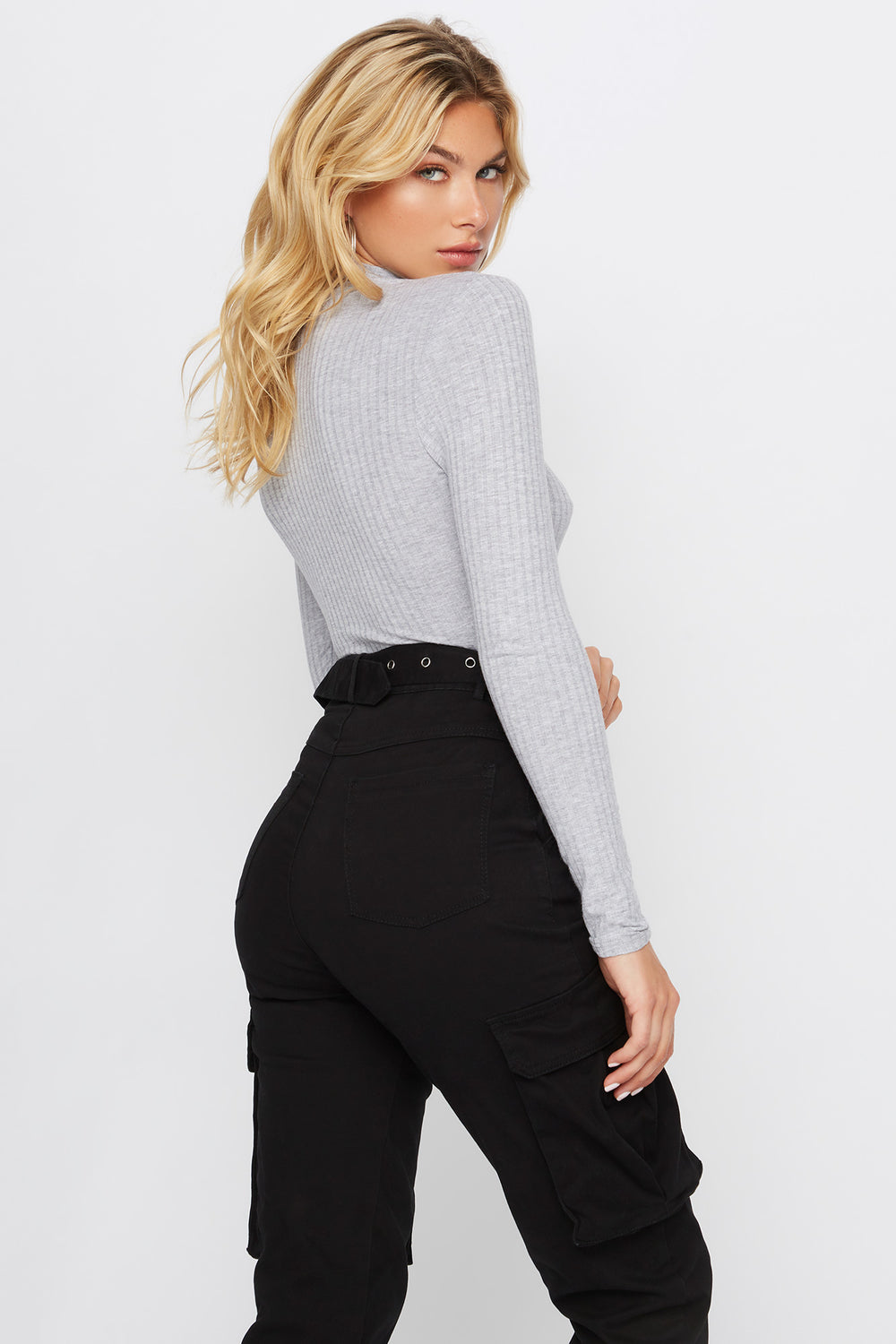 Mock Neck Long Sleeve Bodysuit Heather Grey