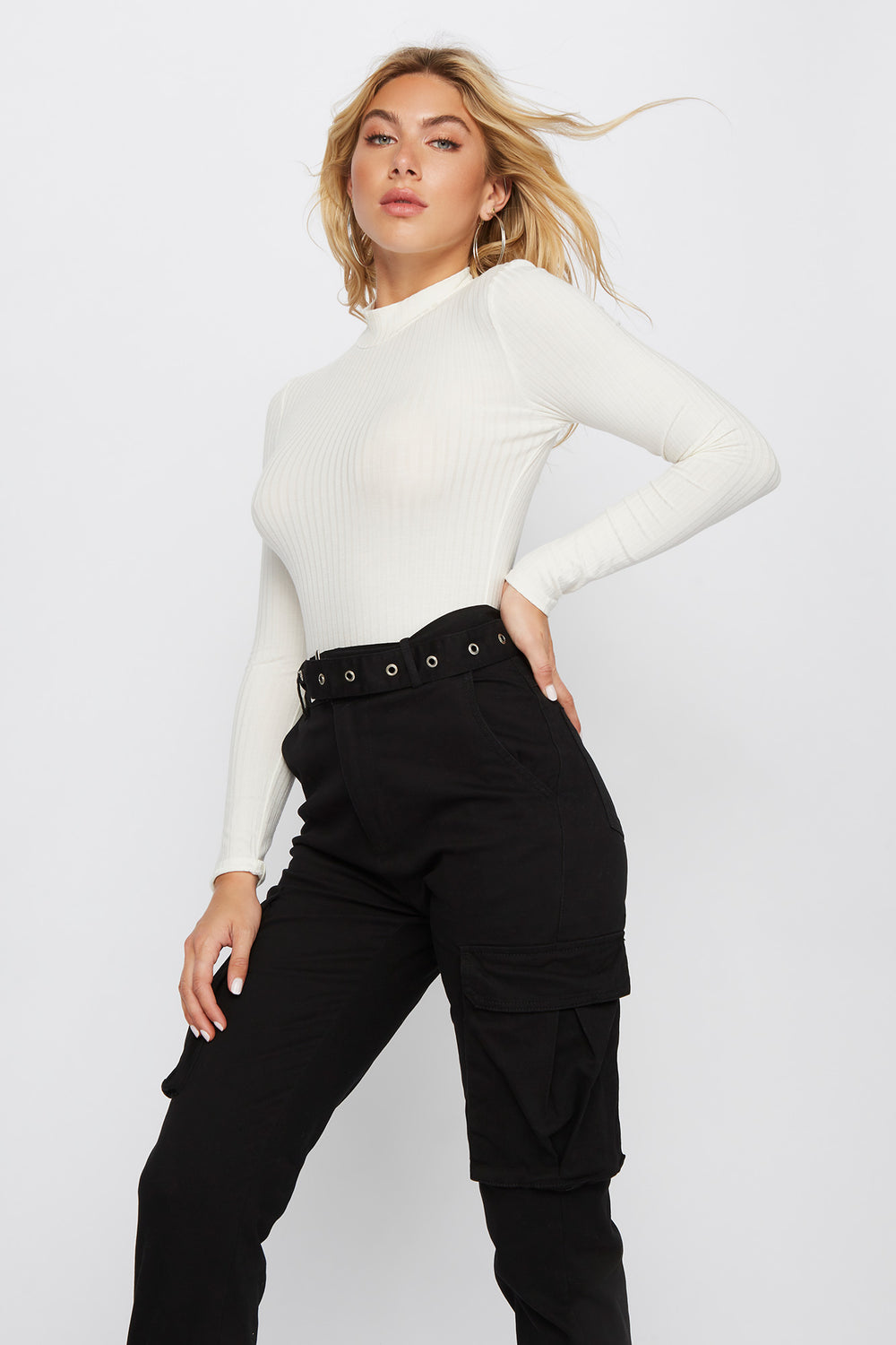 Mock Neck Long Sleeve Bodysuit Off White