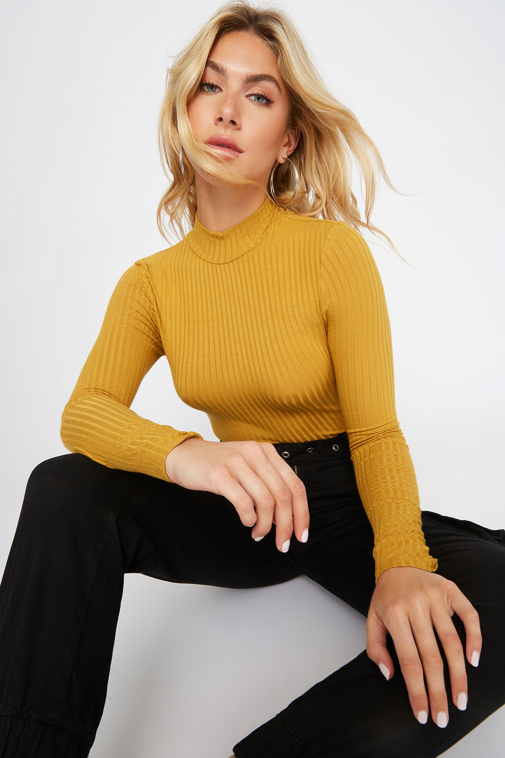 Mock Neck Long Sleeve Bodysuit Mustard