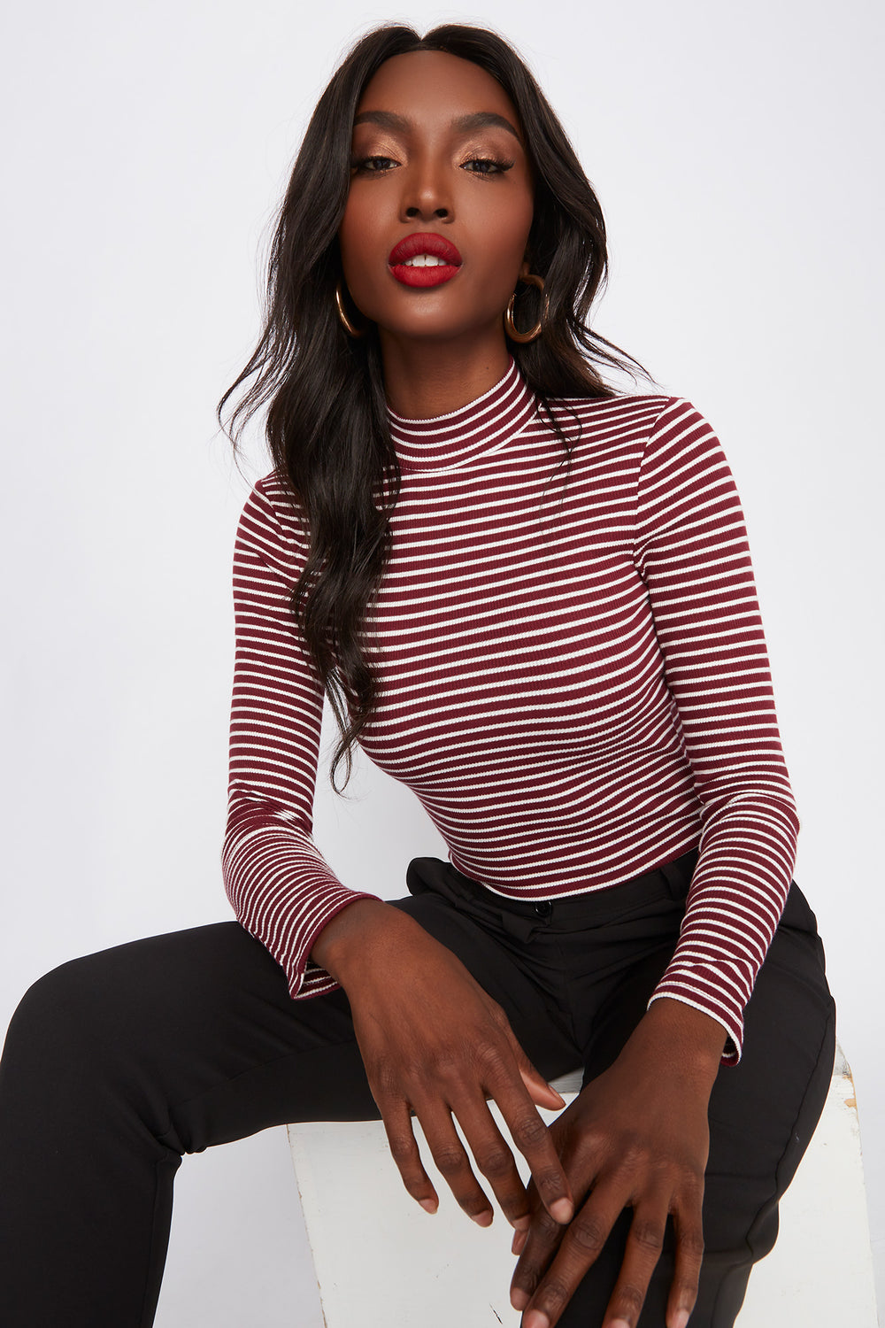 Striped Mock Neck Long Sleeve Bodysuit Burgundy