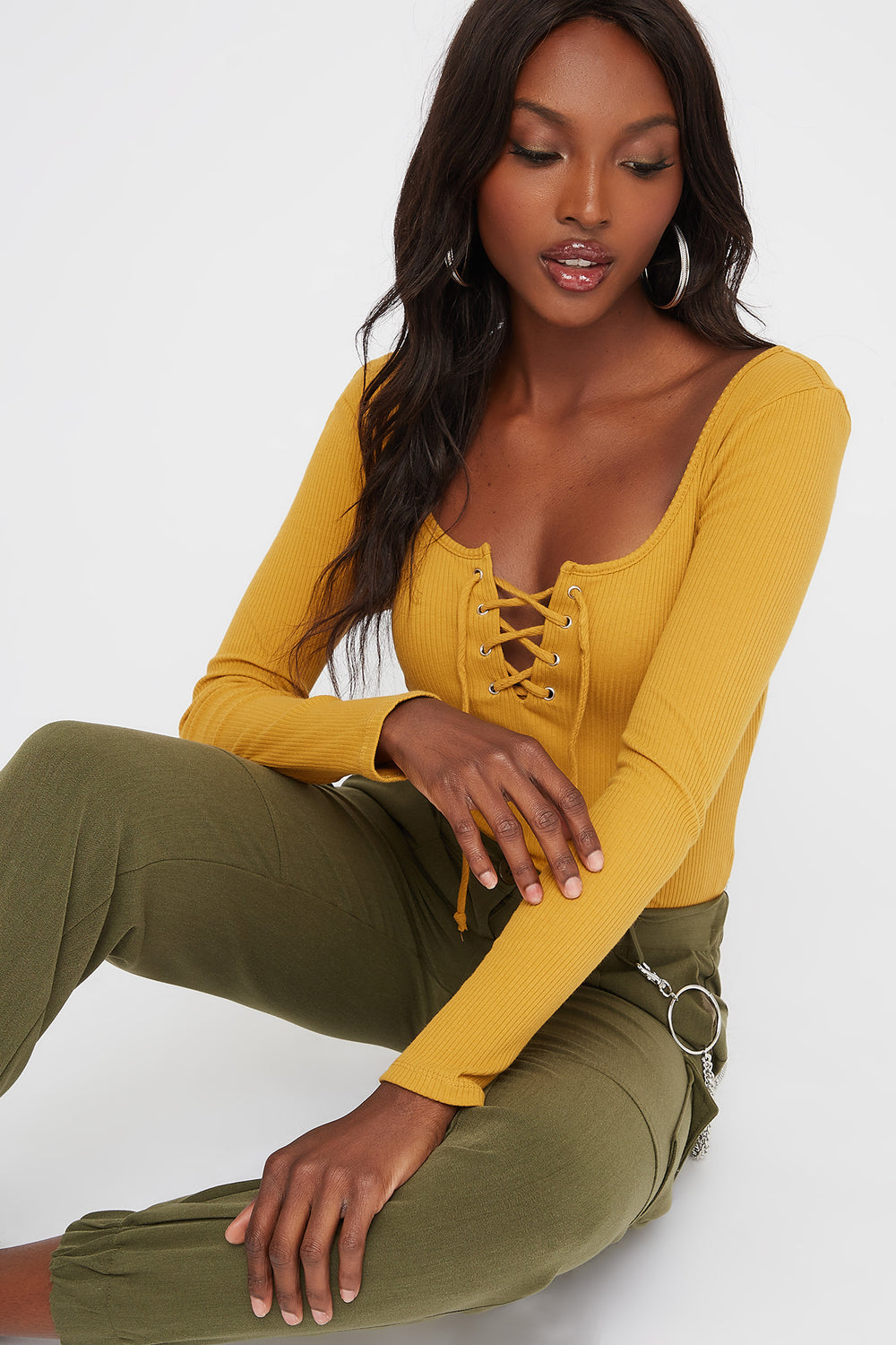 Lace-Up Long Sleeve Bodysuit Mustard