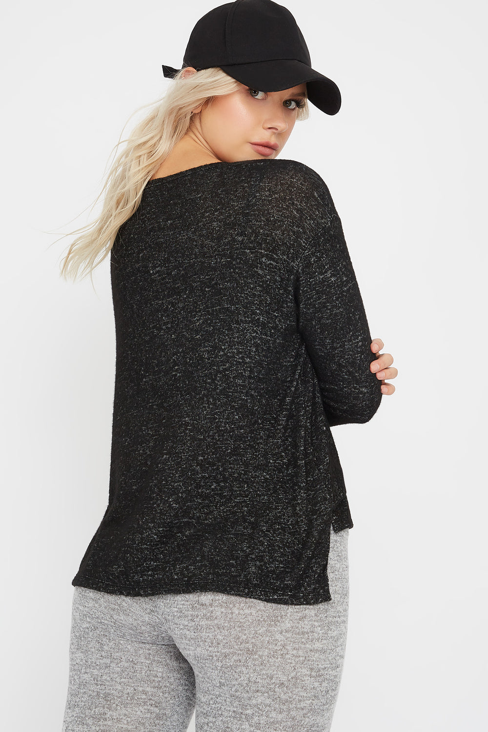 Brushed Scoop Neck Long Sleeve Black