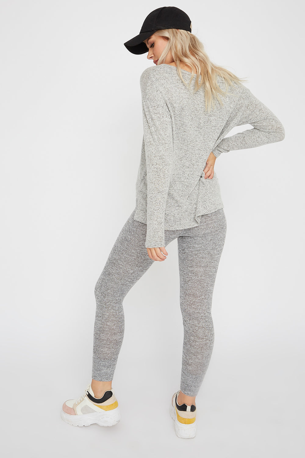Brushed Scoop Neck Long Sleeve Heather Grey