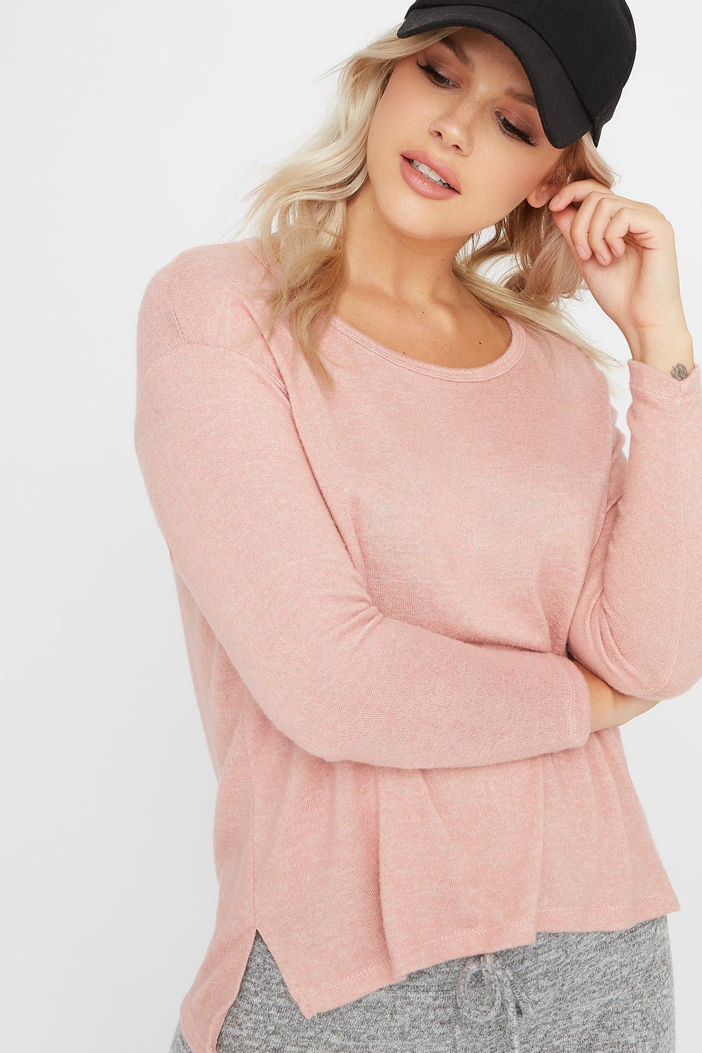 Brushed Scoop Neck Long Sleeve Mauve