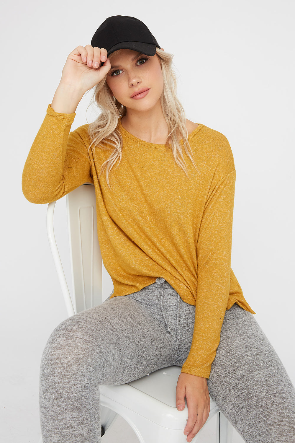 Brushed Scoop Neck Long Sleeve Mustard