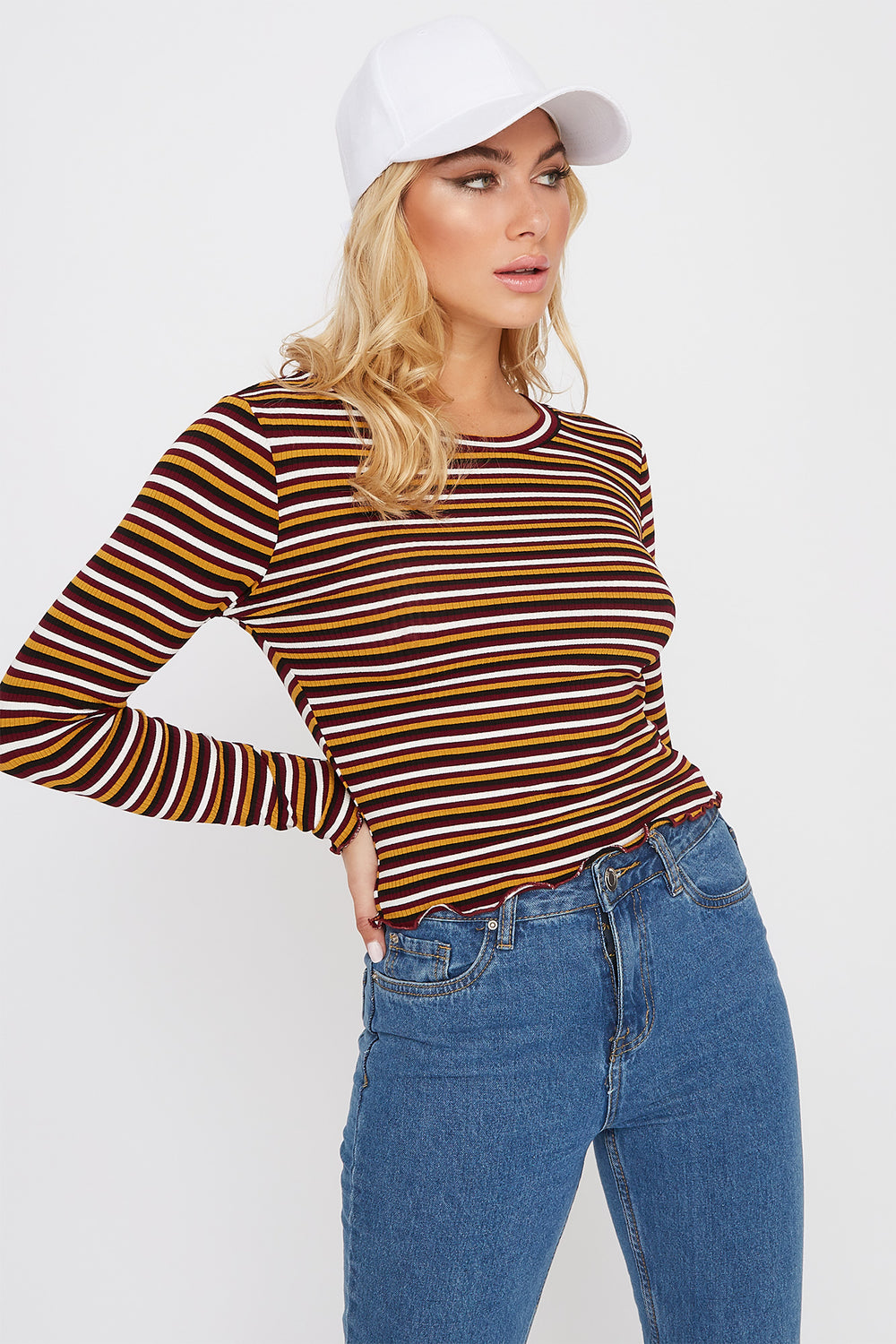 Striped Long Sleeve Burgundy