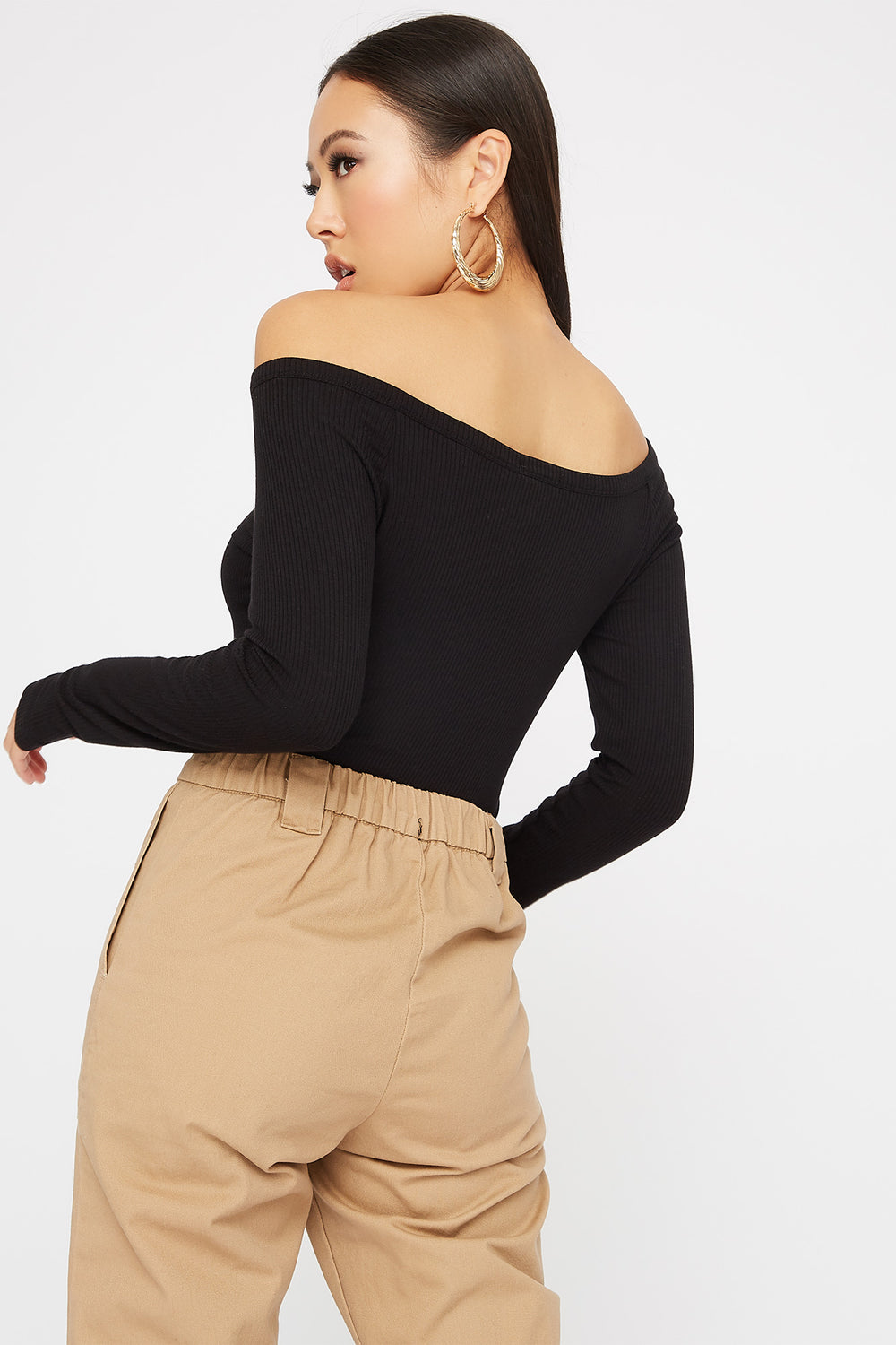 Knit Button Cropped Long Sleeve Black