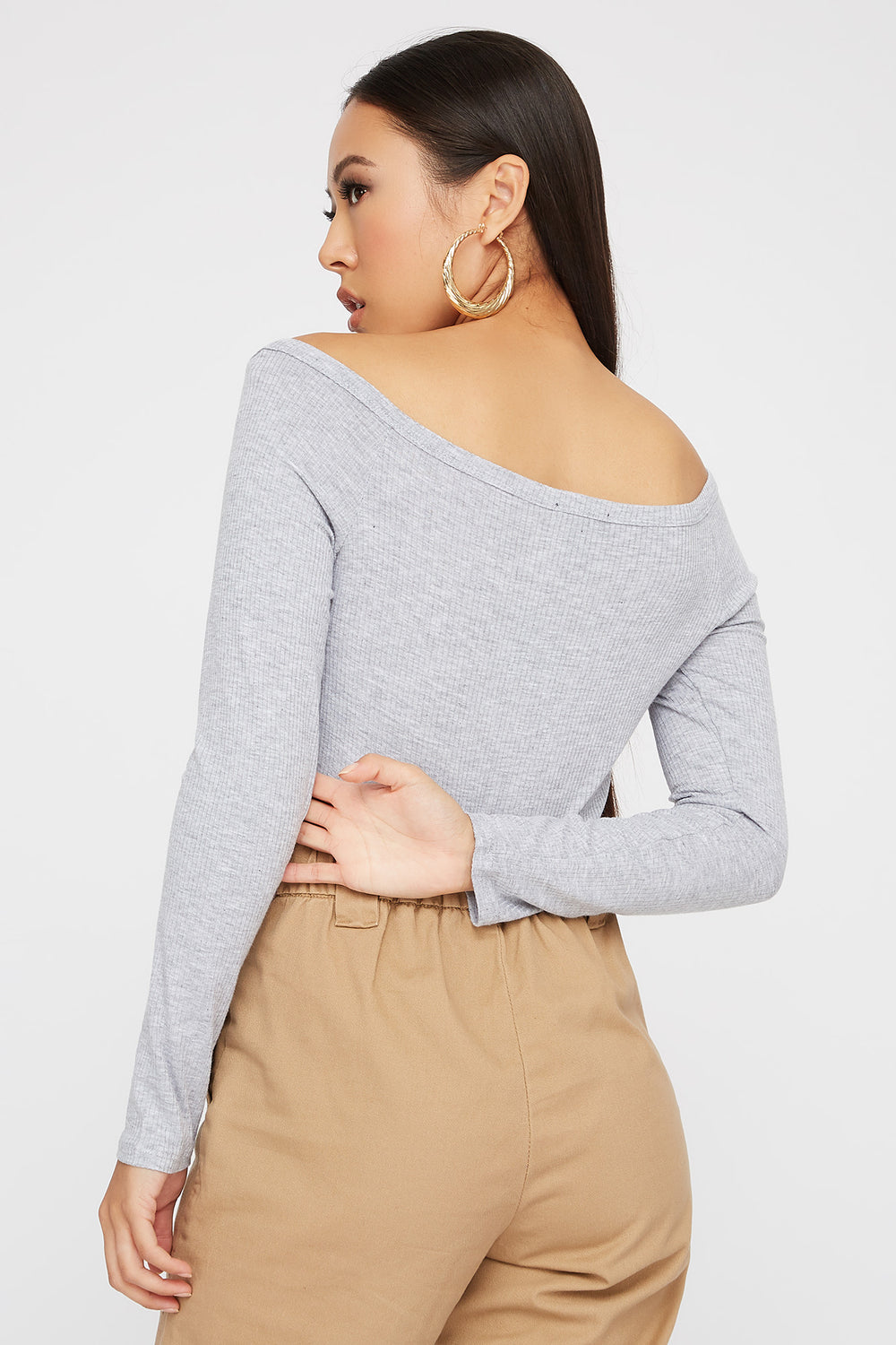 Knit Button Cropped Long Sleeve Heather Grey