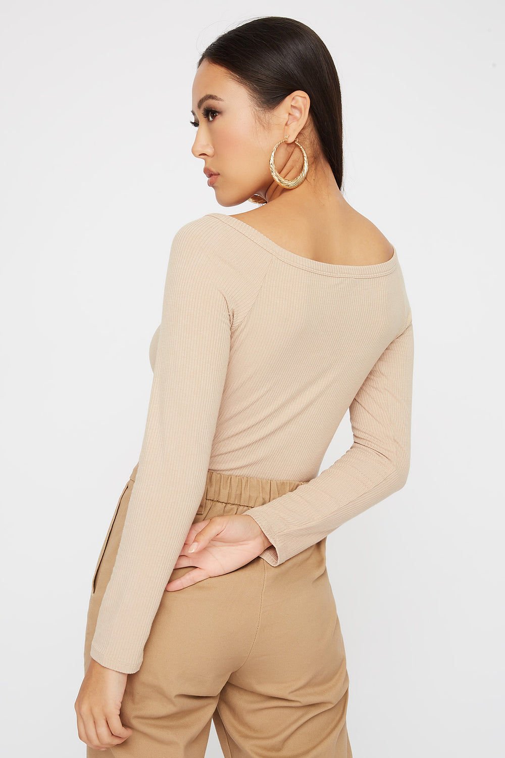 Knit Button Cropped Long Sleeve Sand