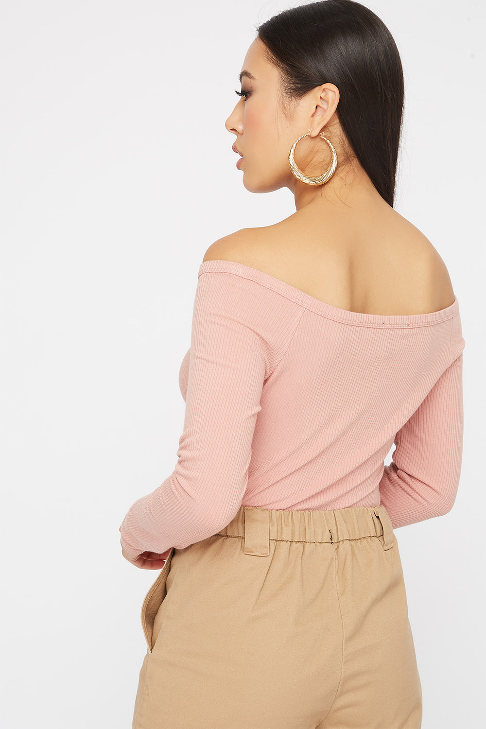 Knit Button Cropped Long Sleeve Mauve
