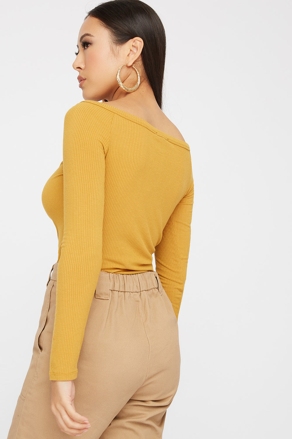 Knit Button Cropped Long Sleeve Mustard