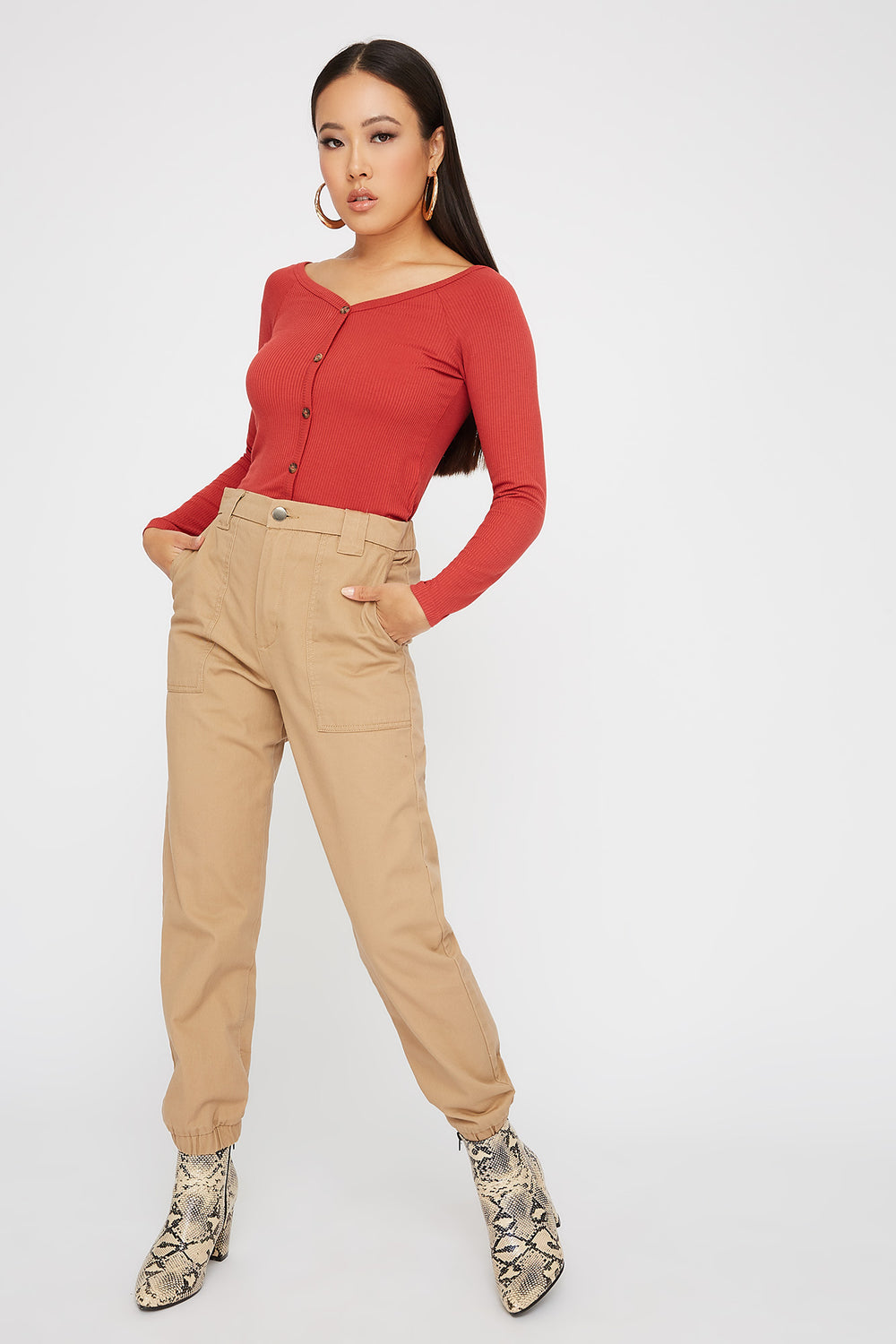 Knit Button Cropped Long Sleeve Rust