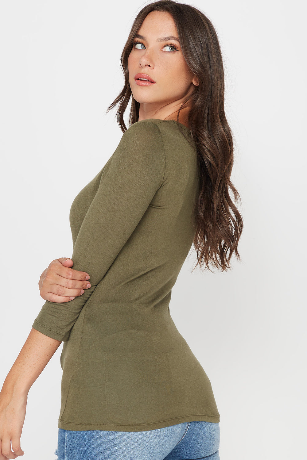 Basic V-Neck Long Sleeve Shirt Green