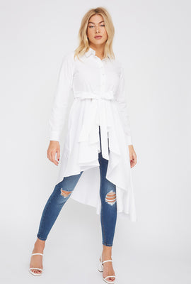 Self Tie Ruffle High-Low Tunic Top