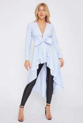 Striped Self Tie Ruffle High-Low Tunic Top