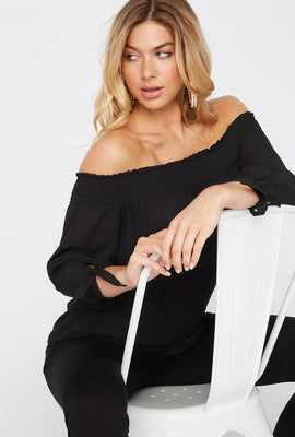 Smocked Off The Shoulder Tie Sleeve Blouse