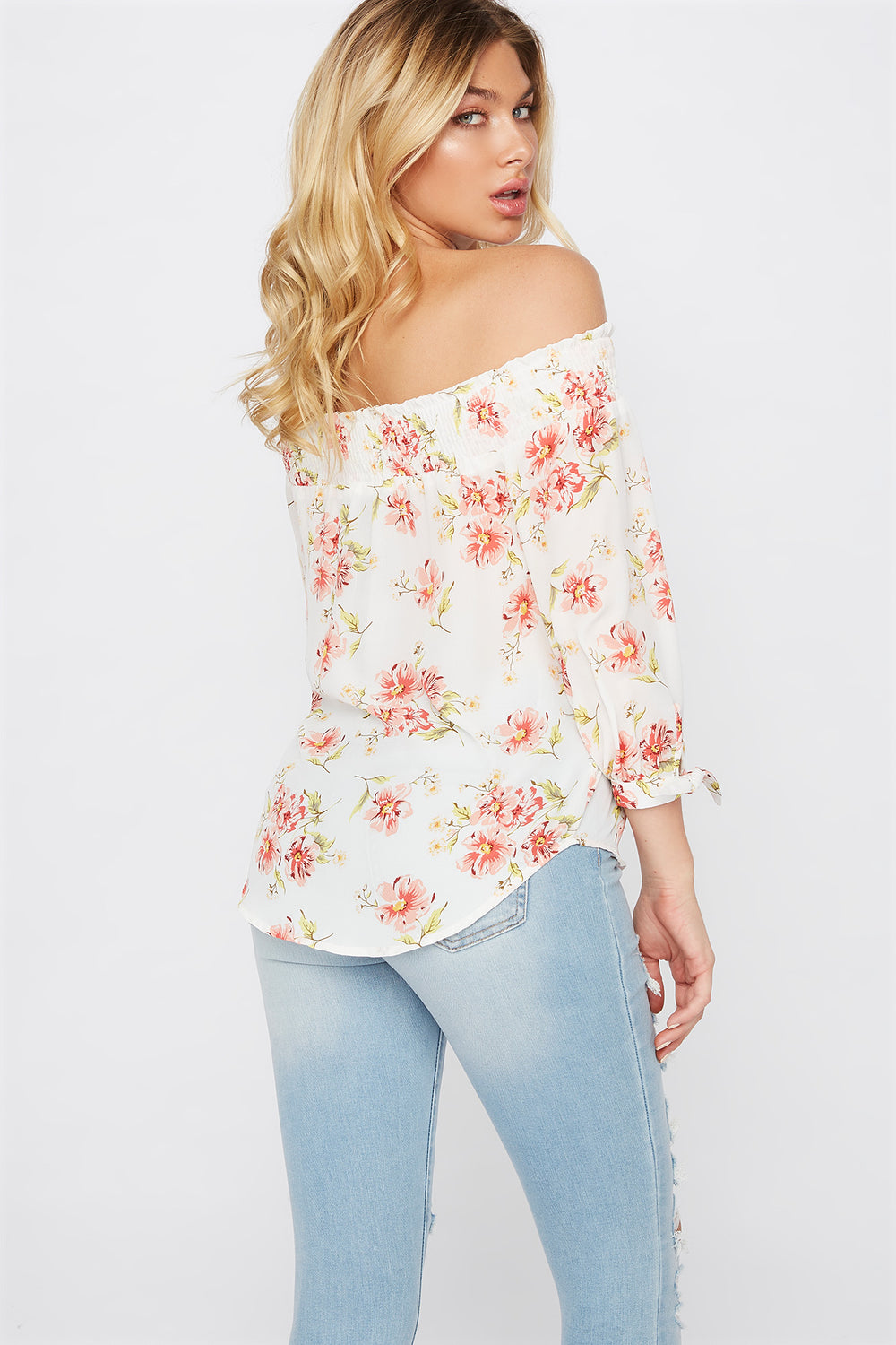 Printed Off The Shoulder Tie Sleeve Blouse Ivory