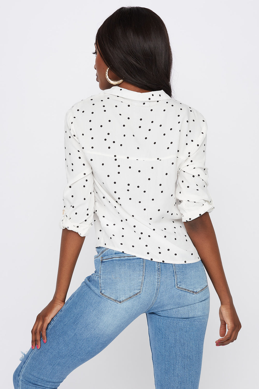 Printed Roll-Tab Button-Up Shirt White