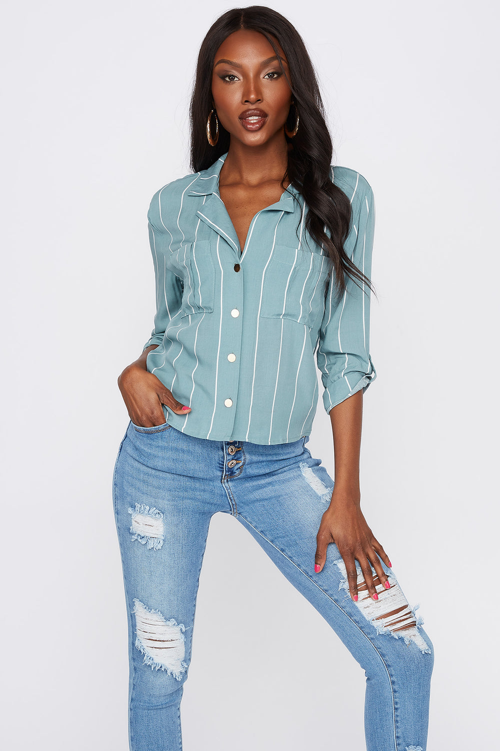 Printed Roll-Tab Button-Up Shirt Sage