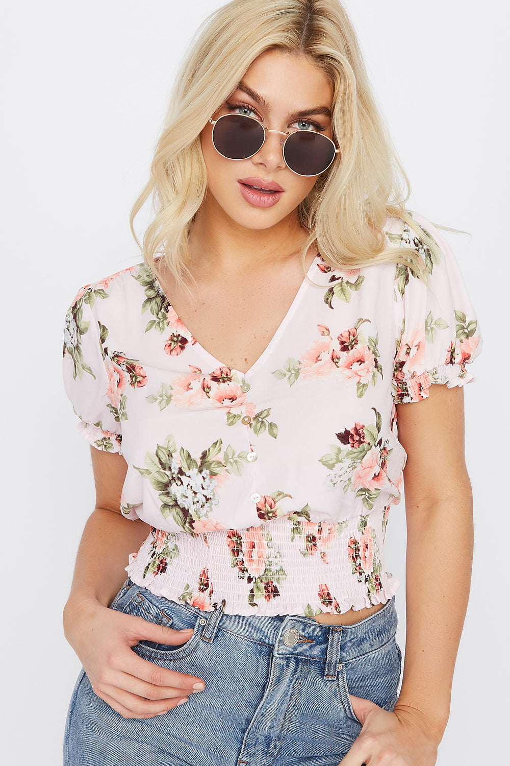 Printed V-Neck Button Smocked Peasant Top Rose