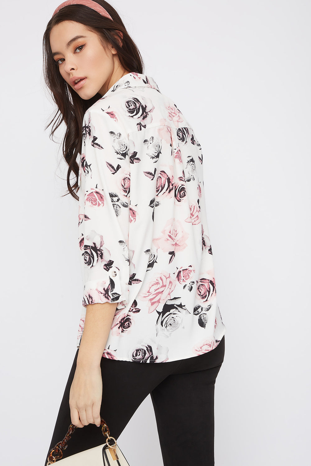 Hammered Printed Roll-Tab Button-Up Blouse Ivory