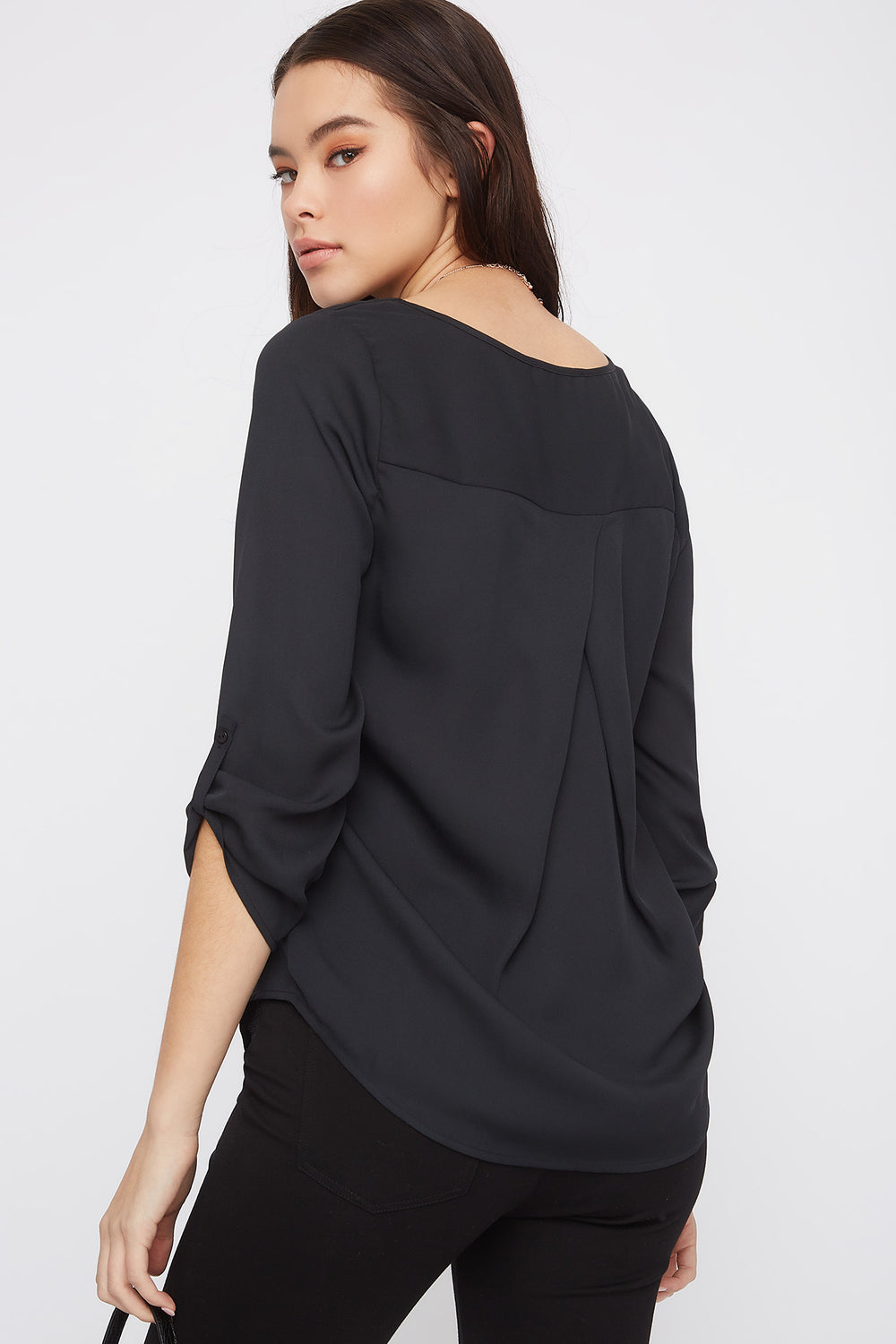 V-Neck Button Sleeve Blouse Black