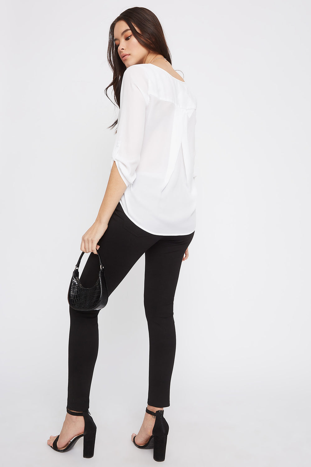 V-Neck Button Sleeve Blouse White