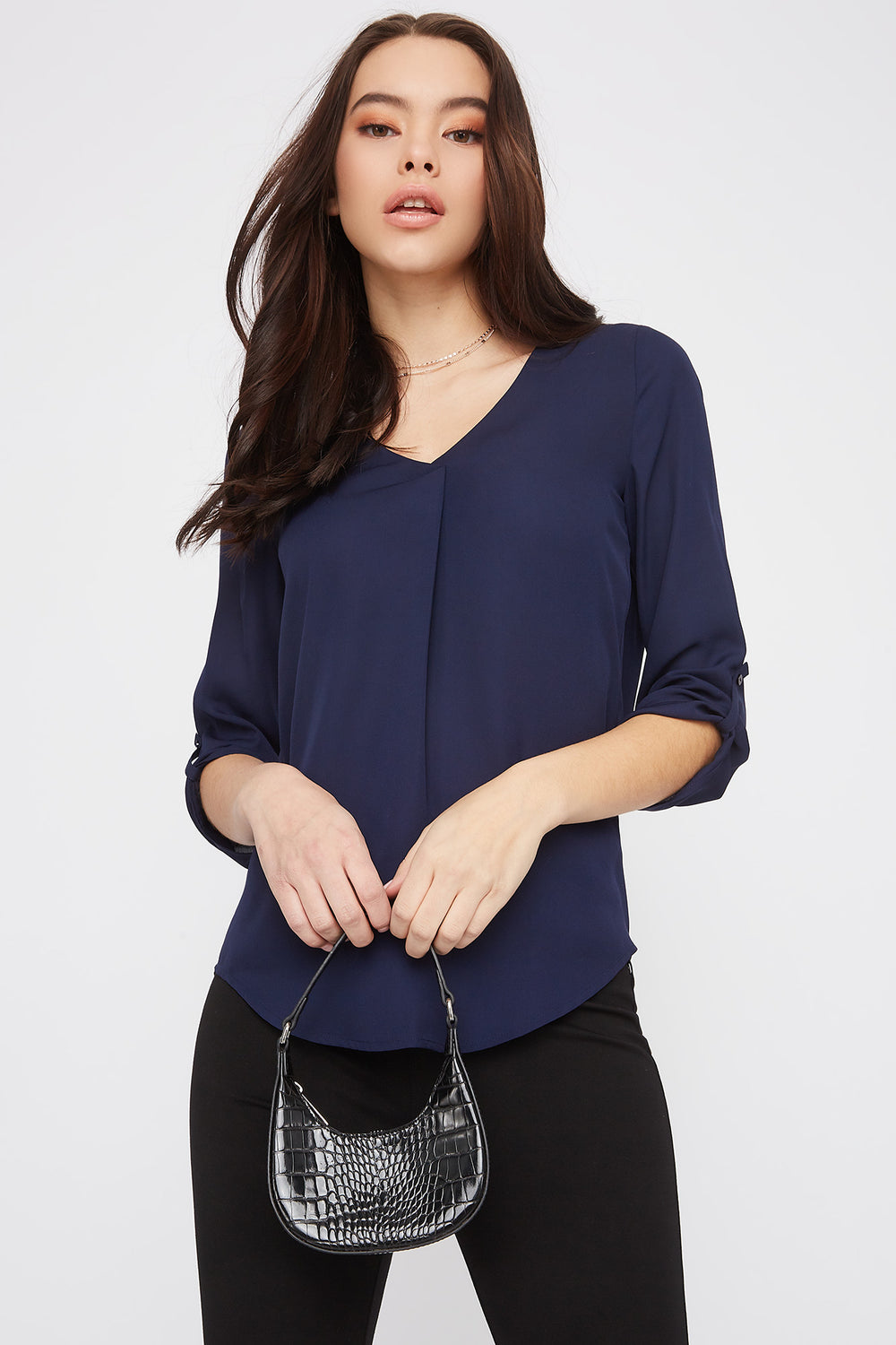 V-Neck Button Sleeve Blouse Navy