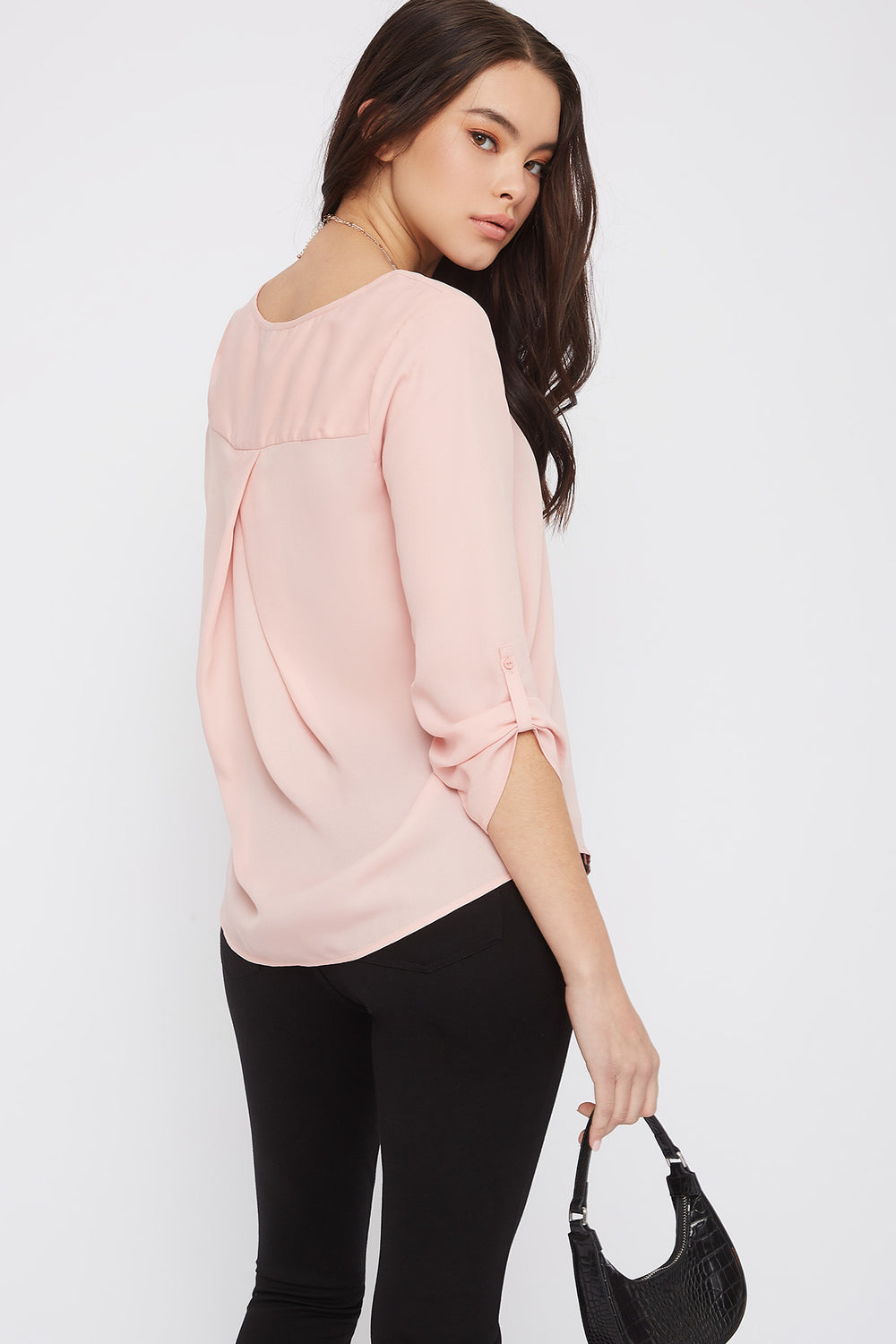 V-Neck Button Sleeve Blouse Rose