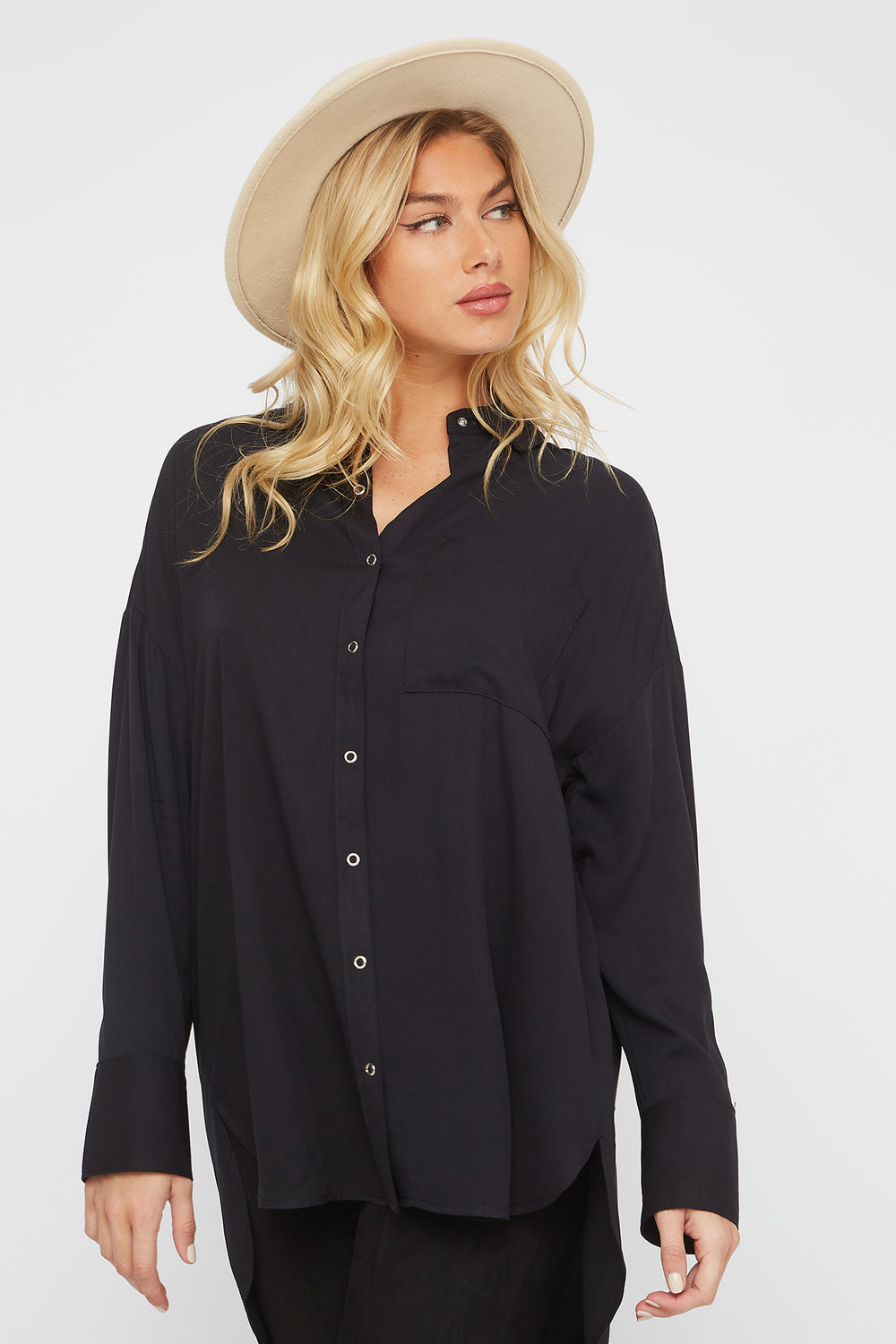 Oversized Button-Up Long Sleeve Shirt Black