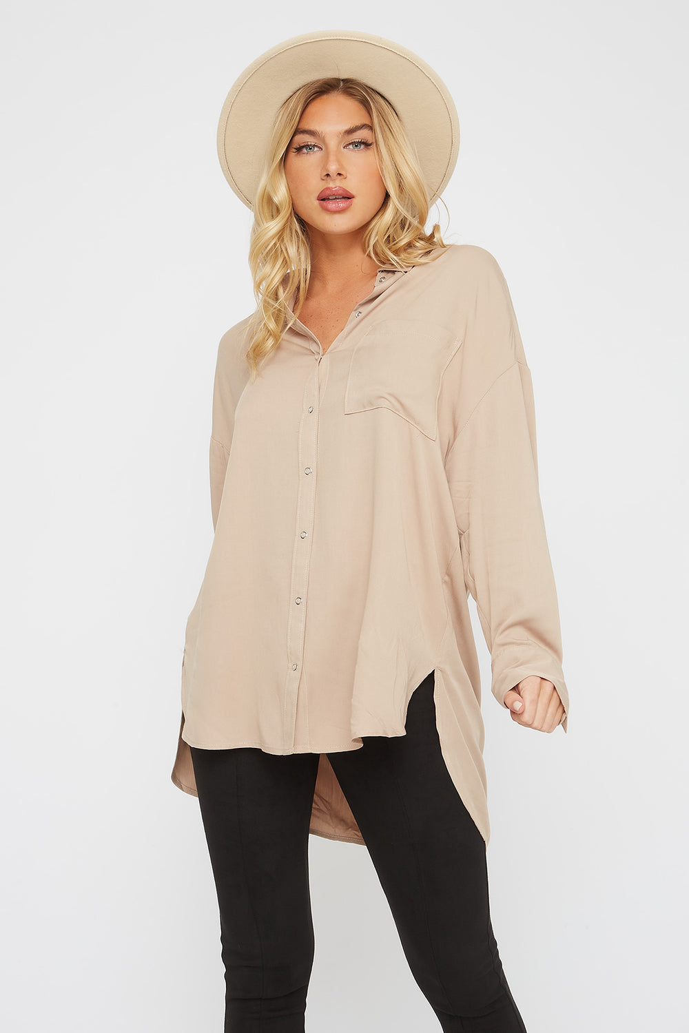 Oversized Button-Up Long Sleeve Shirt Sand