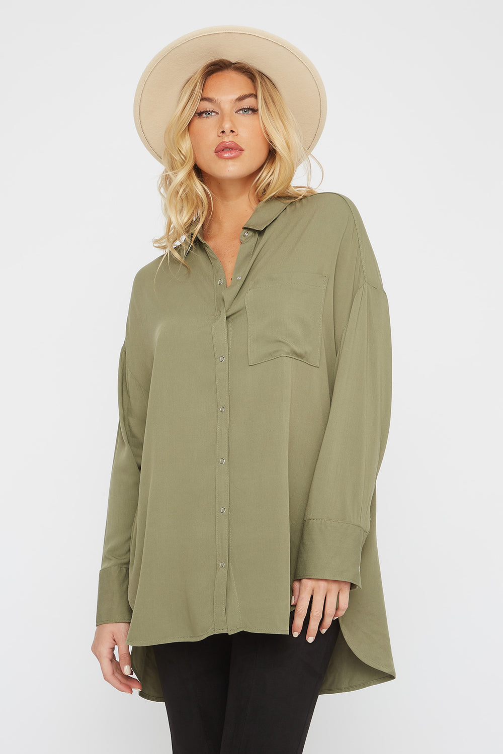 Oversized Button-Up Long Sleeve Shirt Dark Green