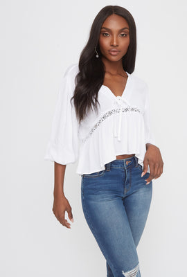 Crochet Trim V-Neck High-Low Blouse