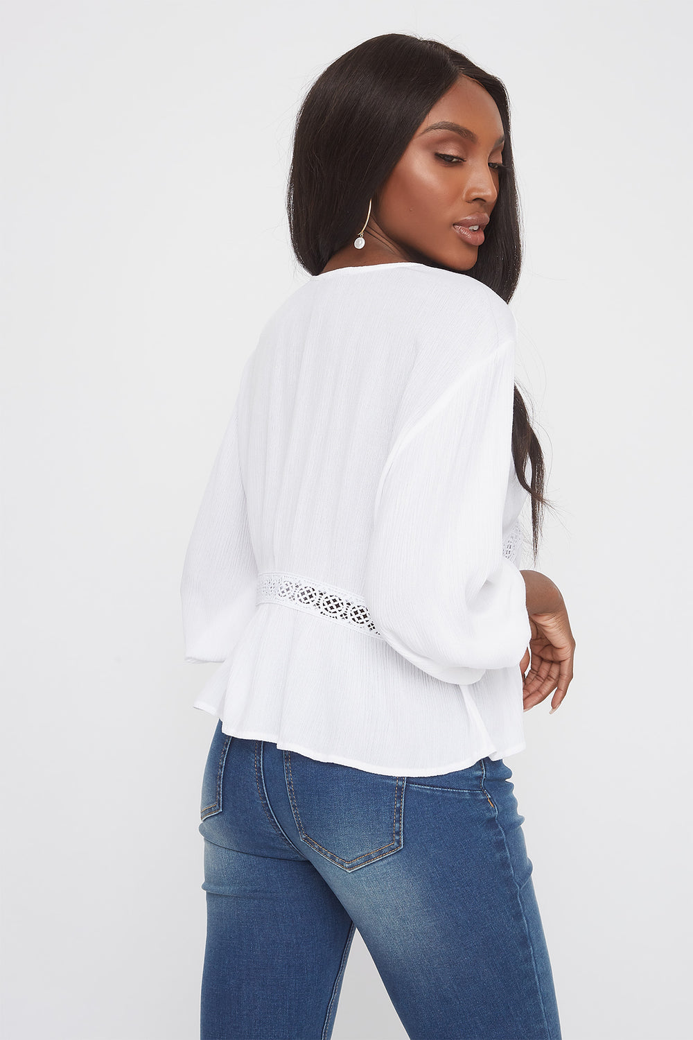 Crochet Trim V-Neck High-Low Blouse White