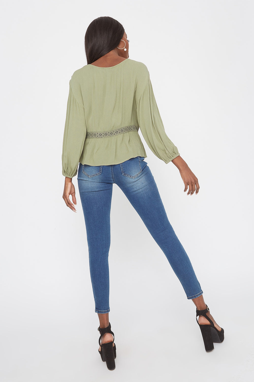 Crochet Trim V-Neck High-Low Blouse Dark Green