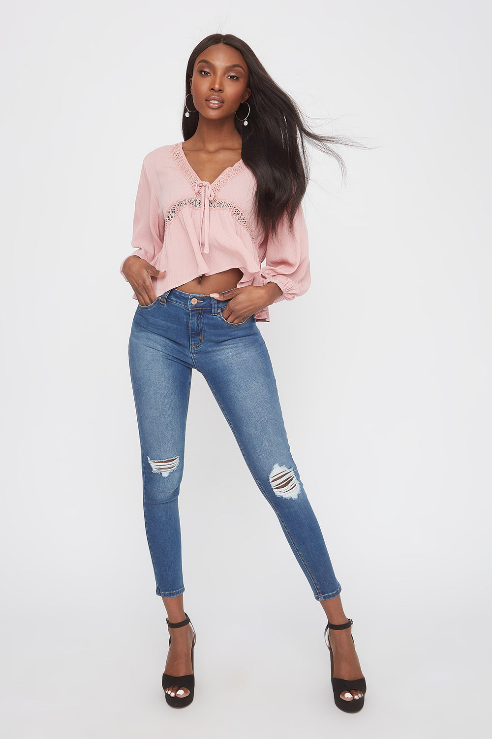 Crochet Trim V-Neck High-Low Blouse Dusty Rose