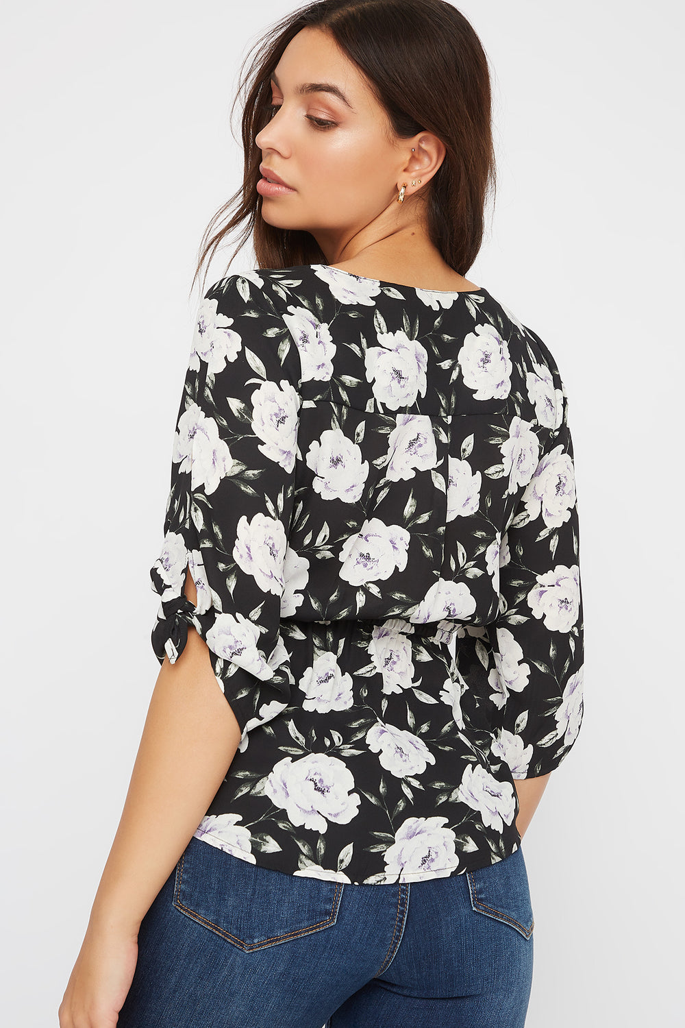 Printed Half-Zip Blouse Black
