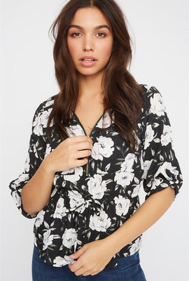 Printed Half-Zip Blouse
