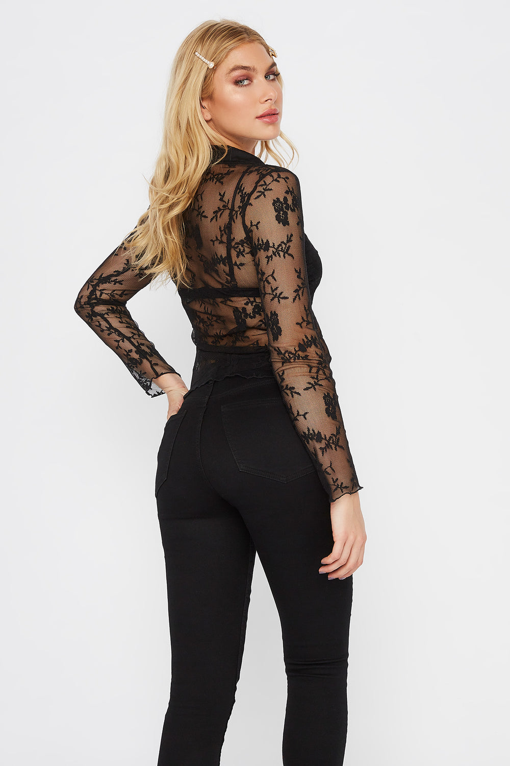 Lace Button-Up Long Sleeve Blouse Black