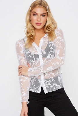 Lace Button-Up Long Sleeve Blouse