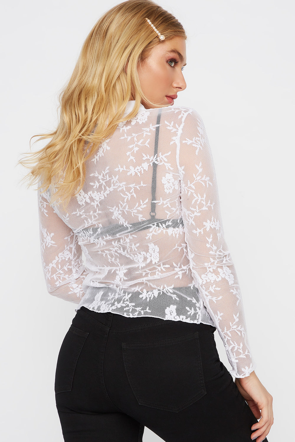 Lace Button-Up Long Sleeve Blouse White