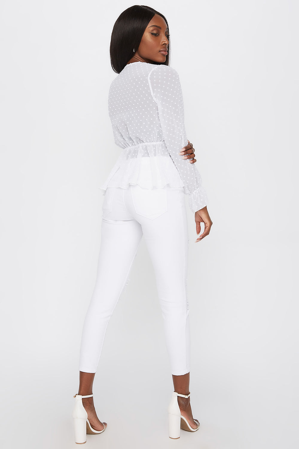Sheer Dotted Surplice Long Sleeve Peplum Blouse White