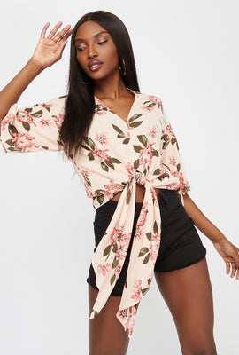 Wide Short Sleeve Front Tie Printed Blouse