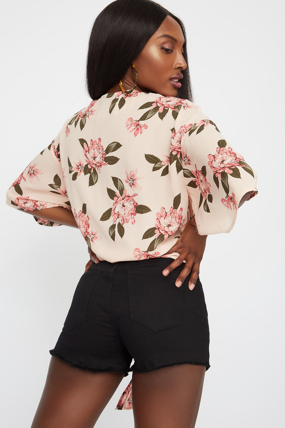 Wide Short Sleeve Front Tie Printed Blouse Rose