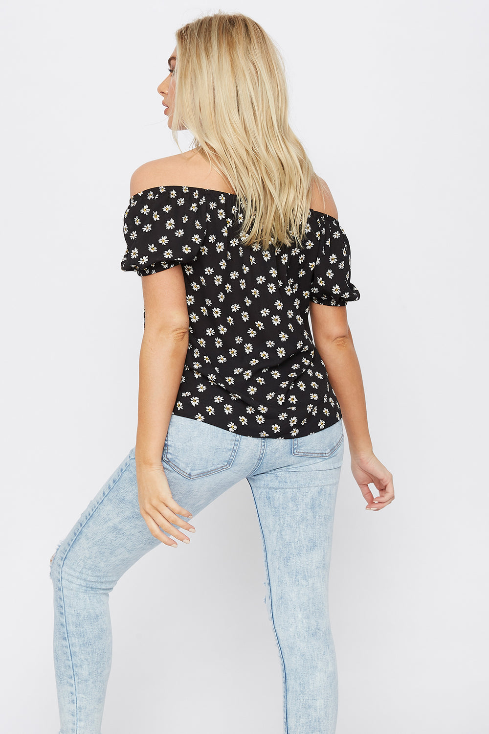 Floral Off The Shoulder Bow Top Black