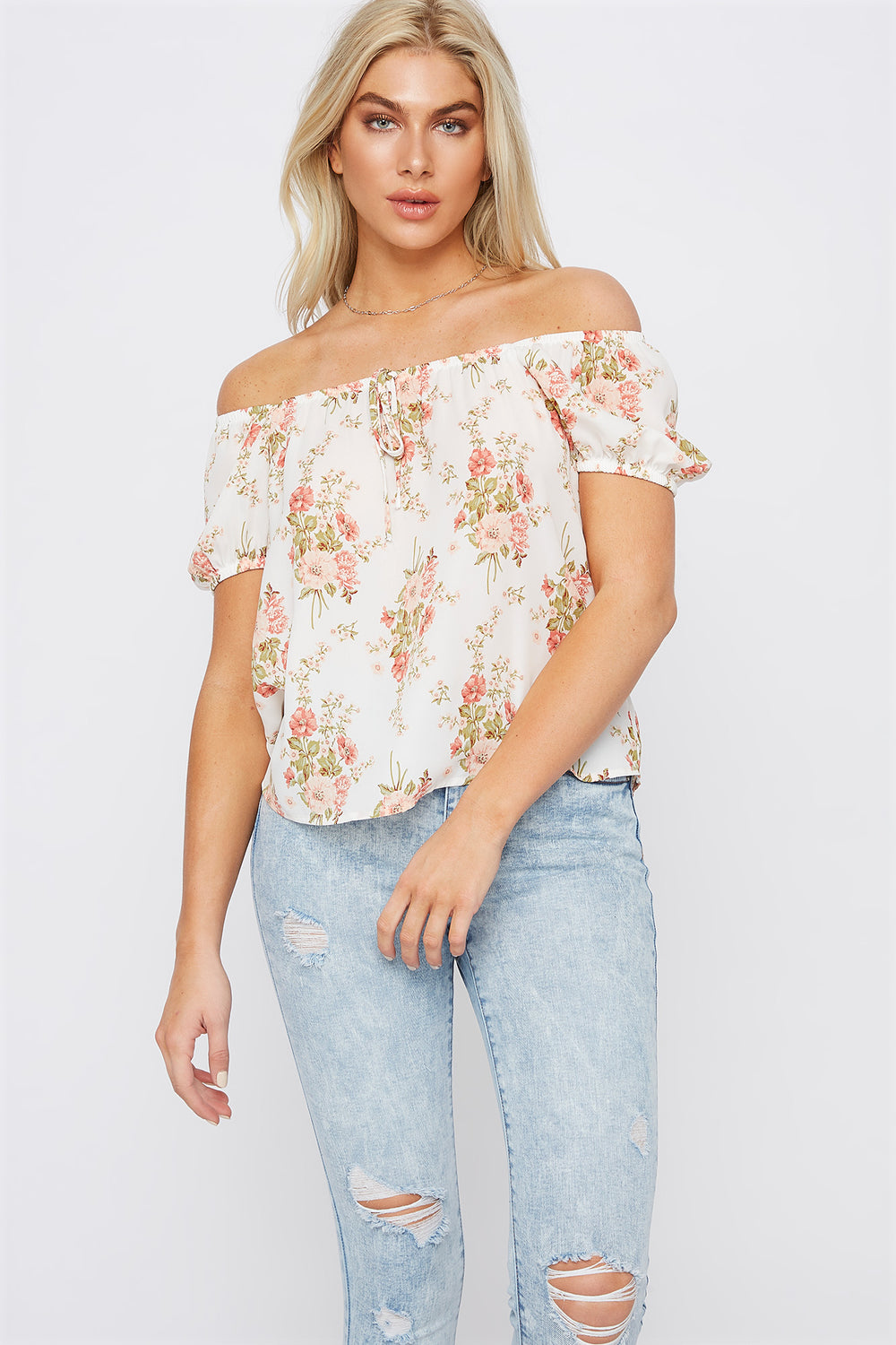 Floral Off The Shoulder Bow Top White